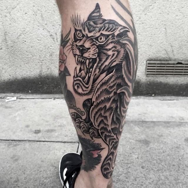 black and grey tiger tattoo 13