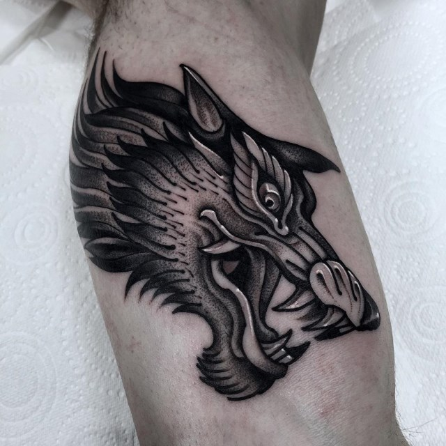 black and grey wolf tattoo 09