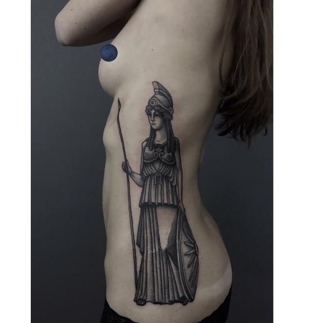 black and grey woman tattoo 03