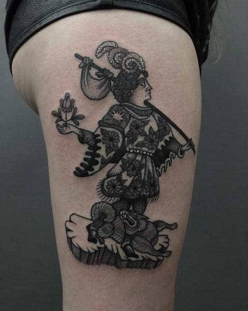 black and grey woman tattoo 09