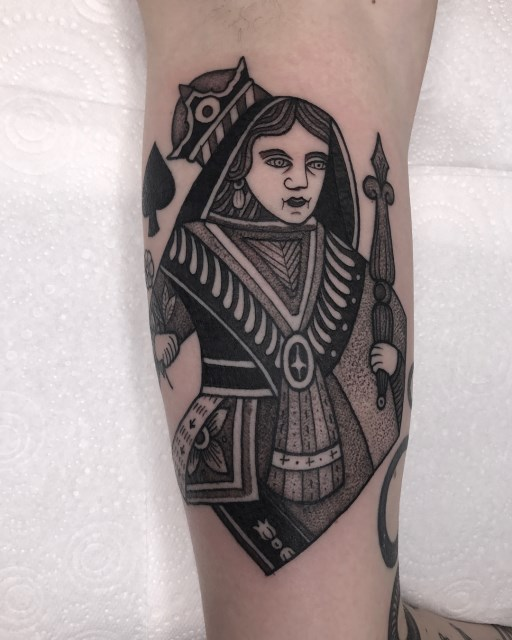 black and grey woman tattoo 13