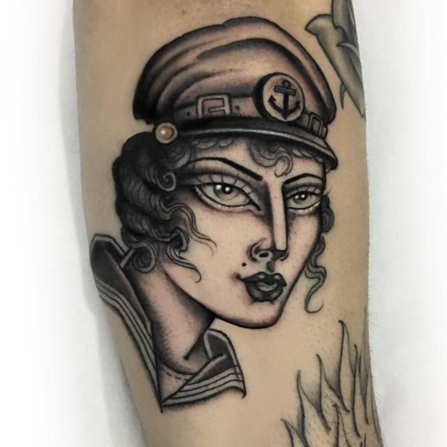 black and grey woman tattoo 15