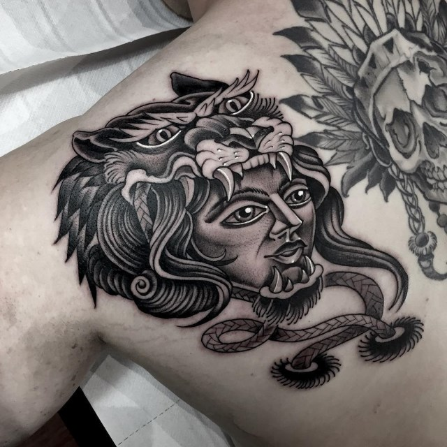 black and grey woman tattoo 16