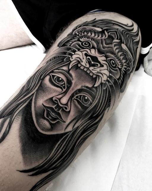 black and grey woman tattoo 18