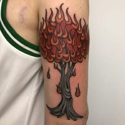Burning Tree Tattoo