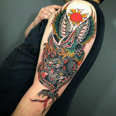 Eagle And Pharoahs Horses Tattoo