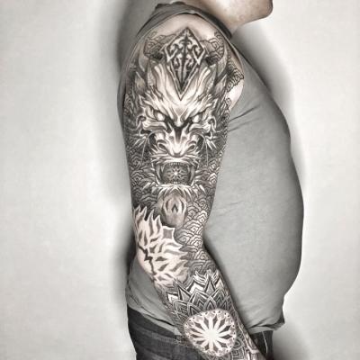 Geometric Tattoo Dragon Sleeve