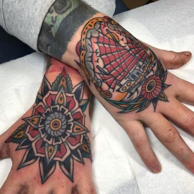 Geometric Tattoo Hand Mandala