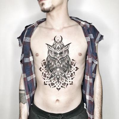 Geometric Tattoo Owl Chestpiece