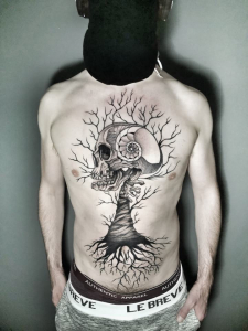 Geometric Tattoo Chest and body with tree tattoo