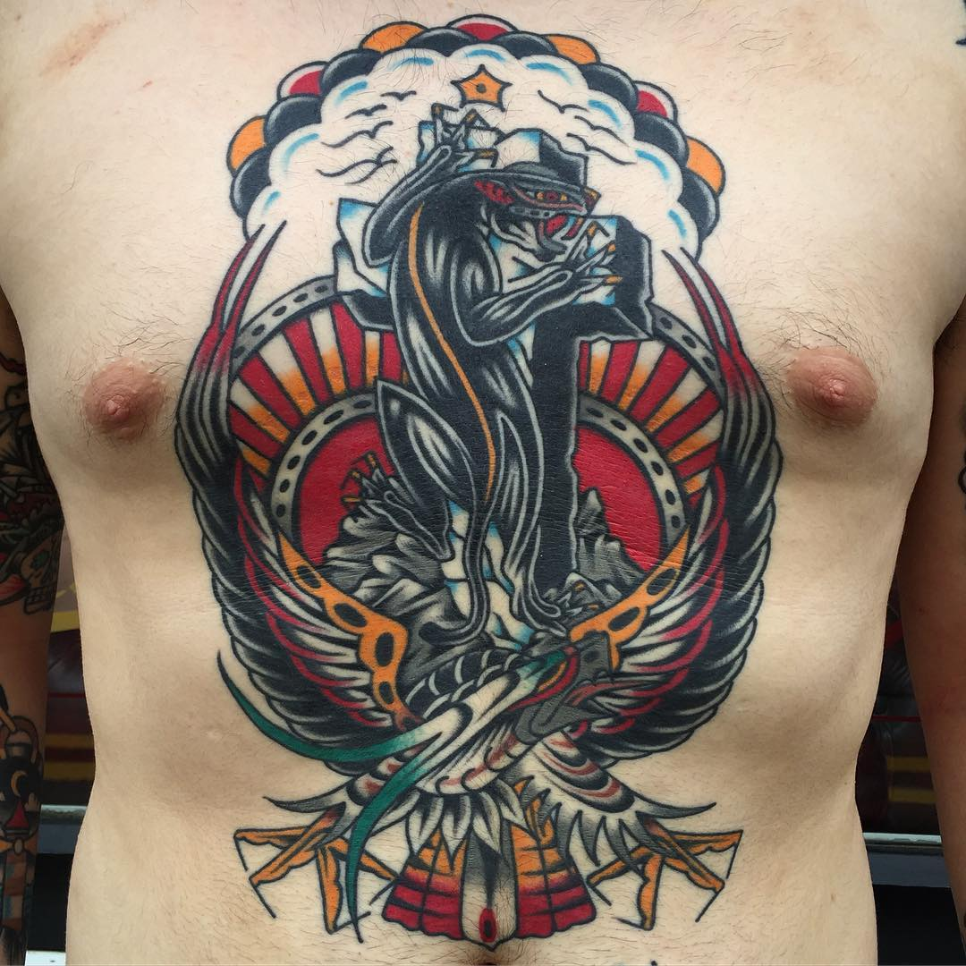 Rock Of Ages Traditional Tattoo Chest