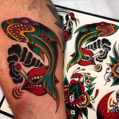 Smoking Shark Tattoo