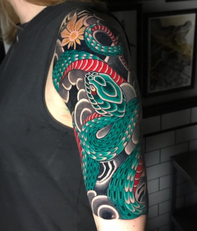 Snake Half Sleeve Tattoo