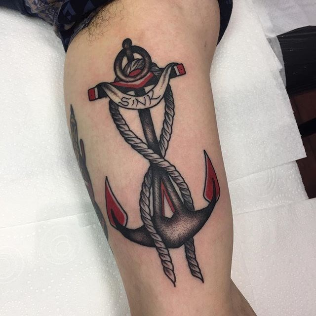 traditional anchors tattoo 06