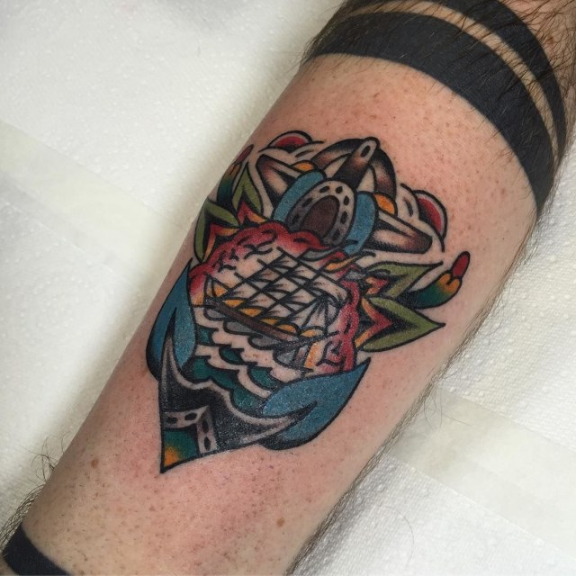 traditional anchors tattoo 10