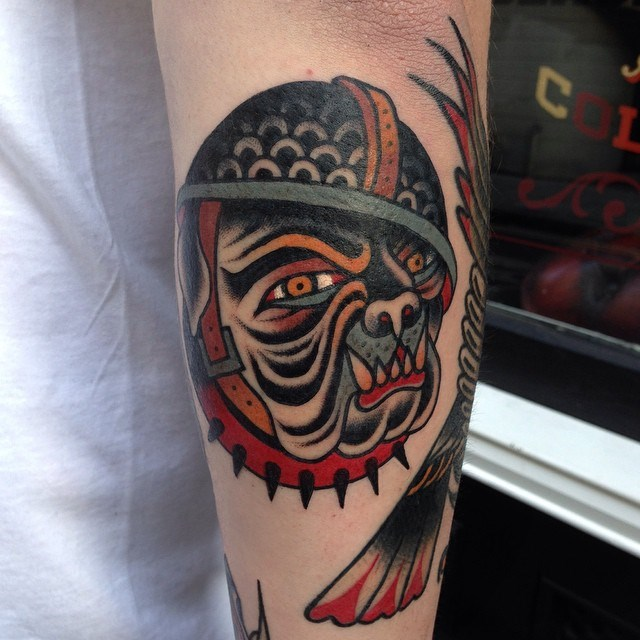 traditional bulldog tattoo 4