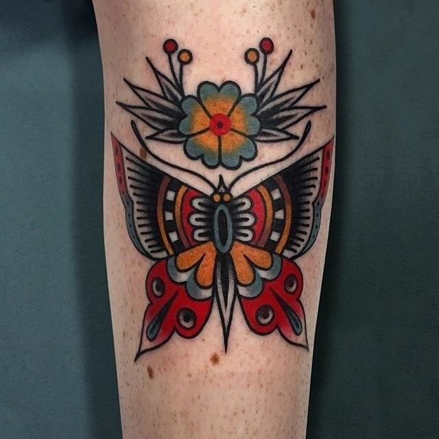 traditional butterfly tattoo 06