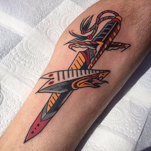 traditional dagger tattoo 01