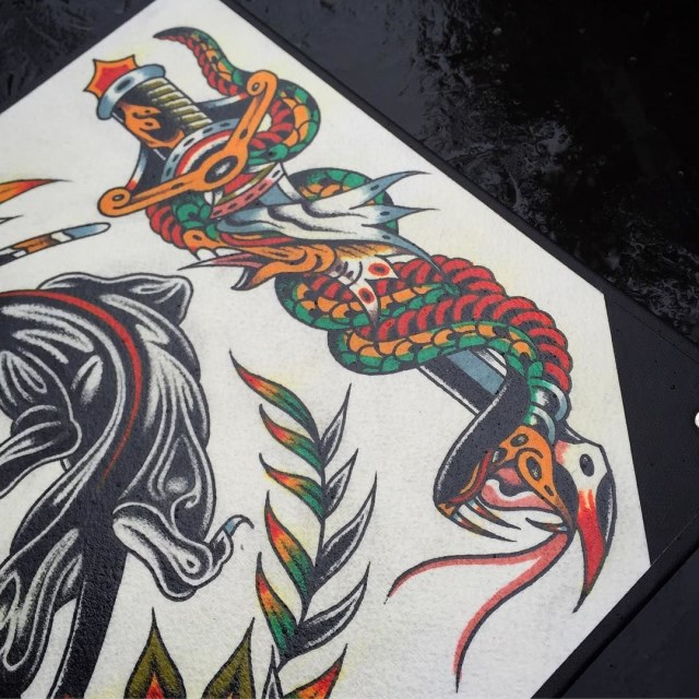 traditional dagger tattoo 26