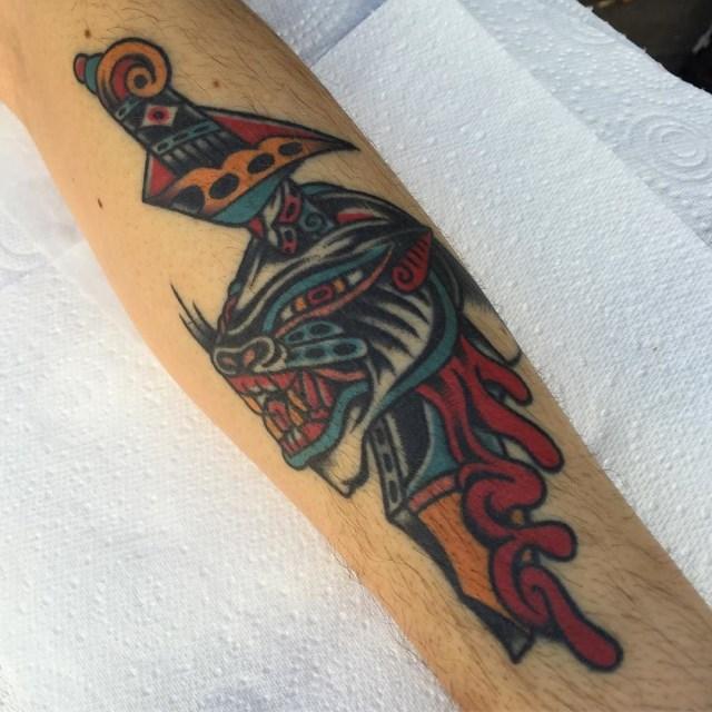 traditional dagger tattoo 38