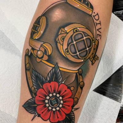 Traditional Diver Helmet Tattoo