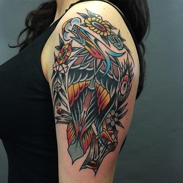 traditional eagle tattoo 036