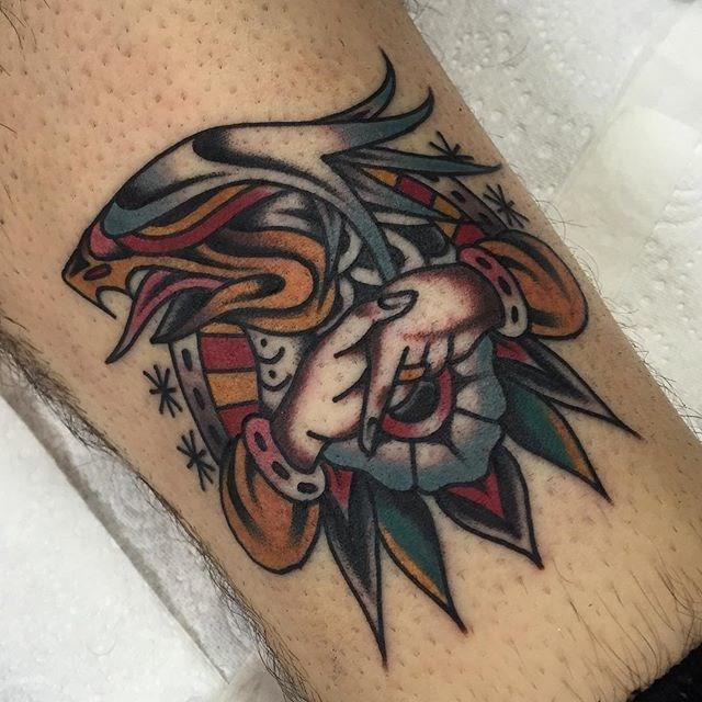 traditional eagle tattoo 075