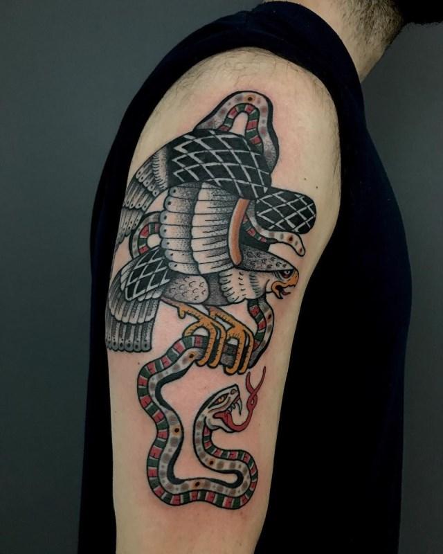 traditional eagle tattoo 096