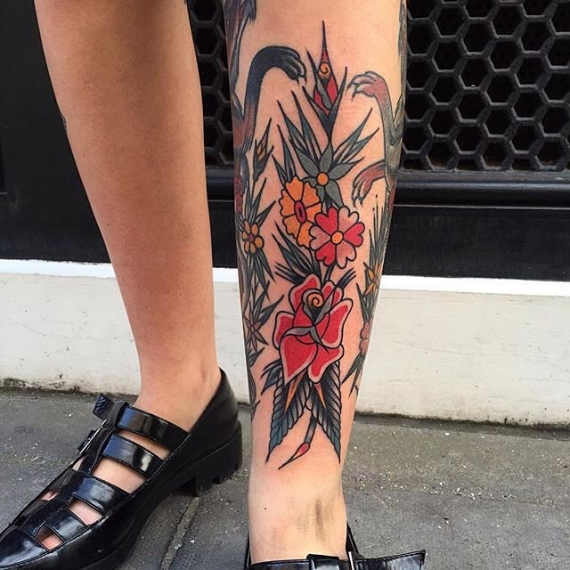 traditional flower tattoo 03
