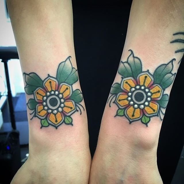 traditional flower tattoo 05