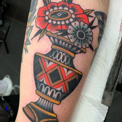 Traditional Flower Vase Tattoo