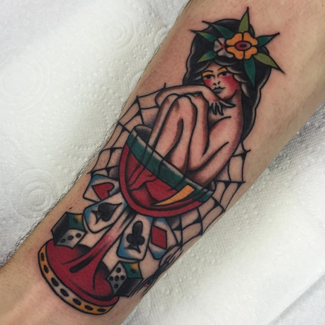 traditional gambling mans ruin tattoo 2