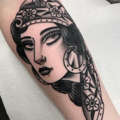 Traditional Gypsy Girl Head Tattoo