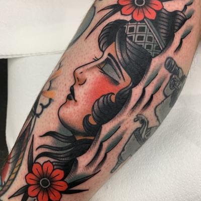 Traditional Lady Head Tattoo