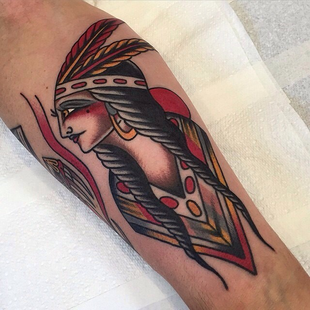 traditional ladyhead tattoo 01