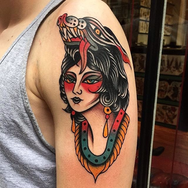 traditional ladyhead tattoo 05