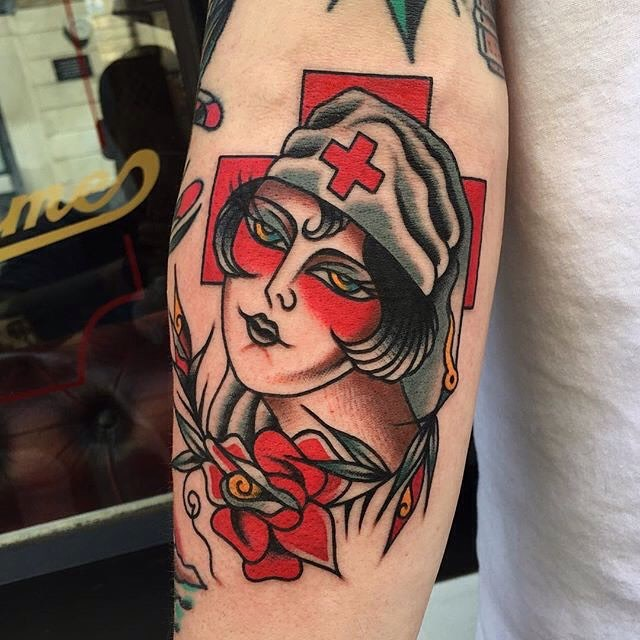traditional ladyhead tattoo 09
