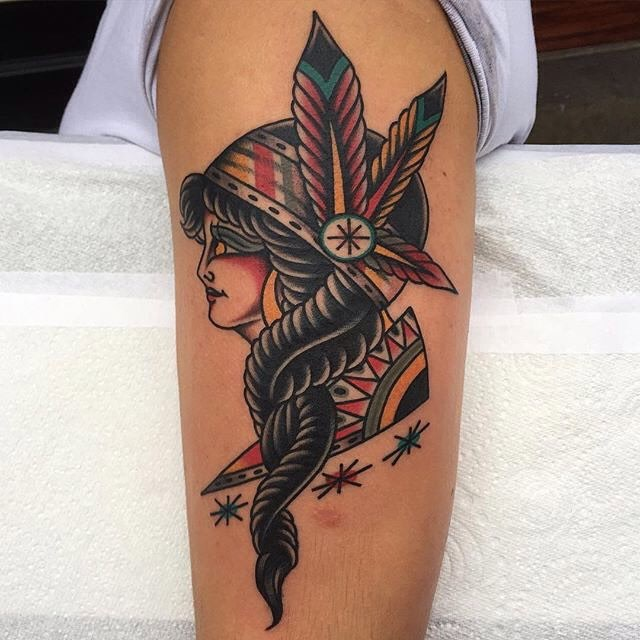 traditional ladyhead tattoo 11
