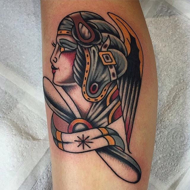 traditional ladyhead tattoo 13