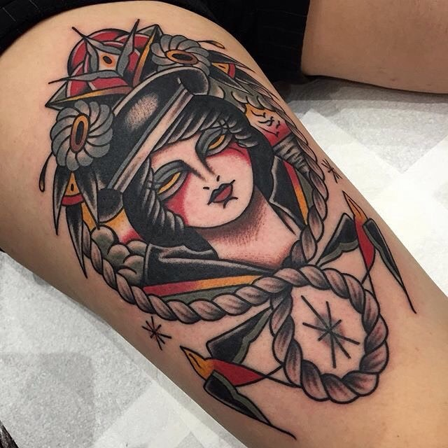 traditional ladyhead tattoo 16