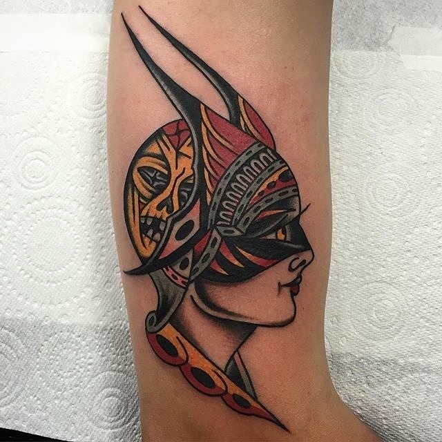 traditional ladyhead tattoo 23
