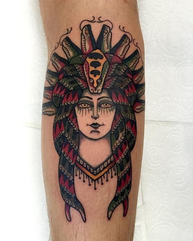 traditional ladyhead tattoo 24