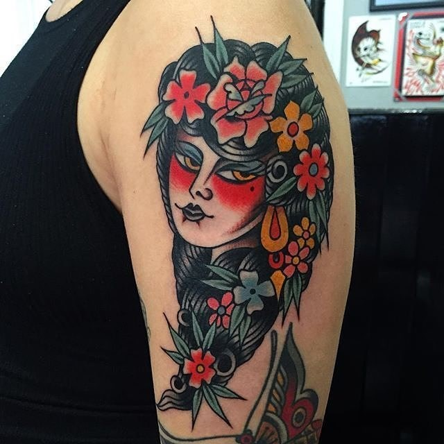 traditional ladyhead tattoo 25