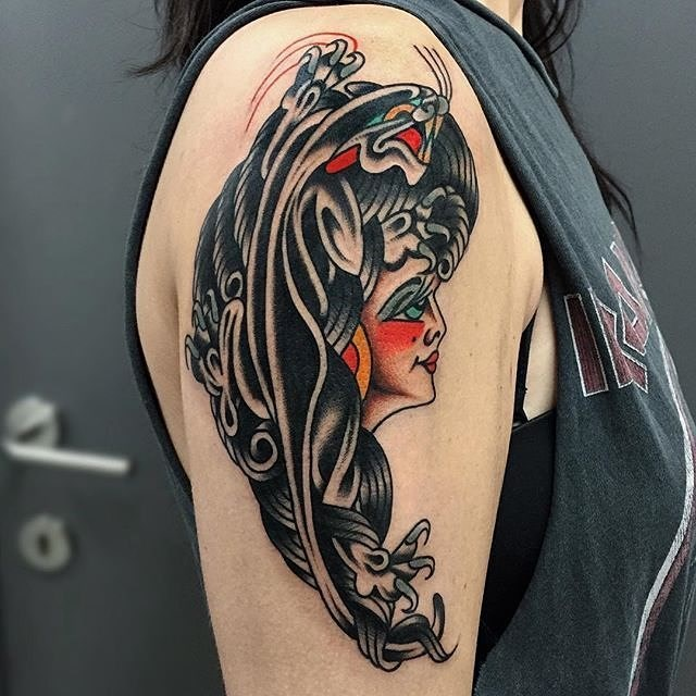 traditional ladyhead tattoo 29
