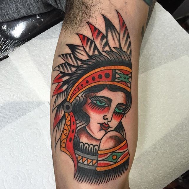 traditional ladyhead tattoo 33