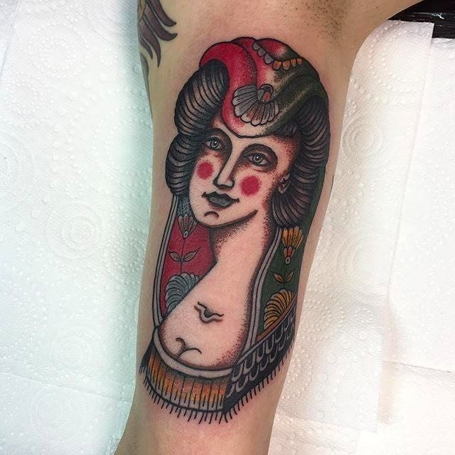 traditional ladyhead tattoo 34