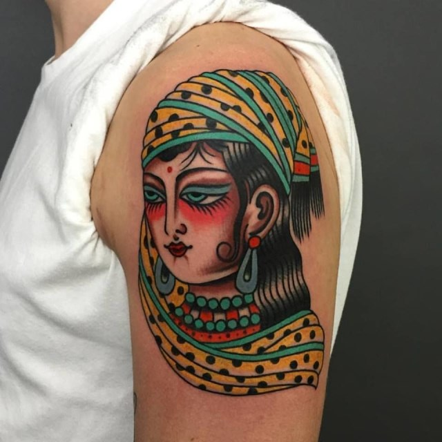 traditional ladyhead tattoo 35