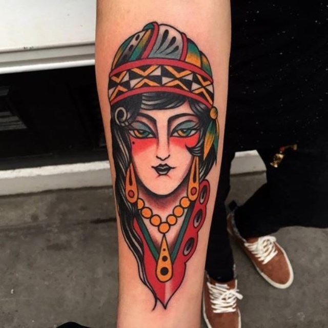 traditional ladyhead tattoo 36