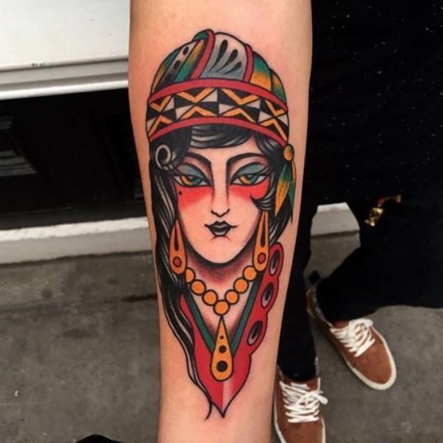 Traditional Ladyhead Tattoo 36