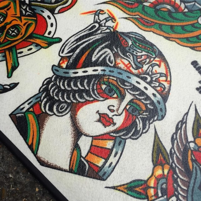 traditional ladyhead tattoo 39